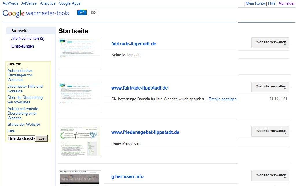 URL-Definition per Google-Webmastertools