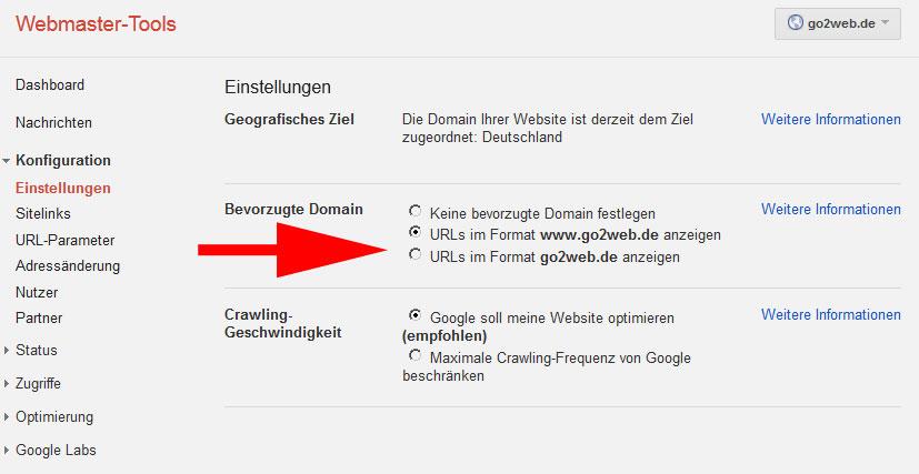 Google Webmaster-Tools bevorzugte Domain festlegen