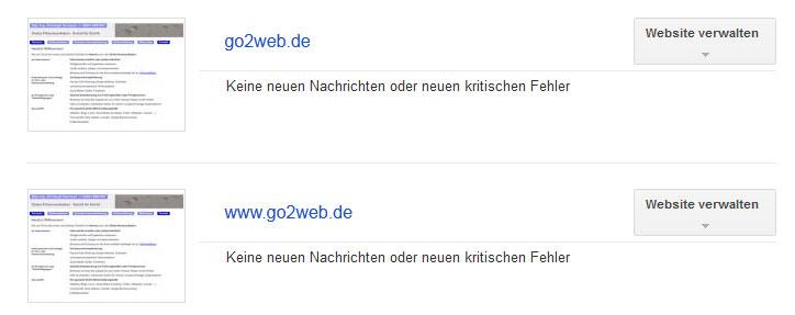 go2web.de in Google Webmaster Tools