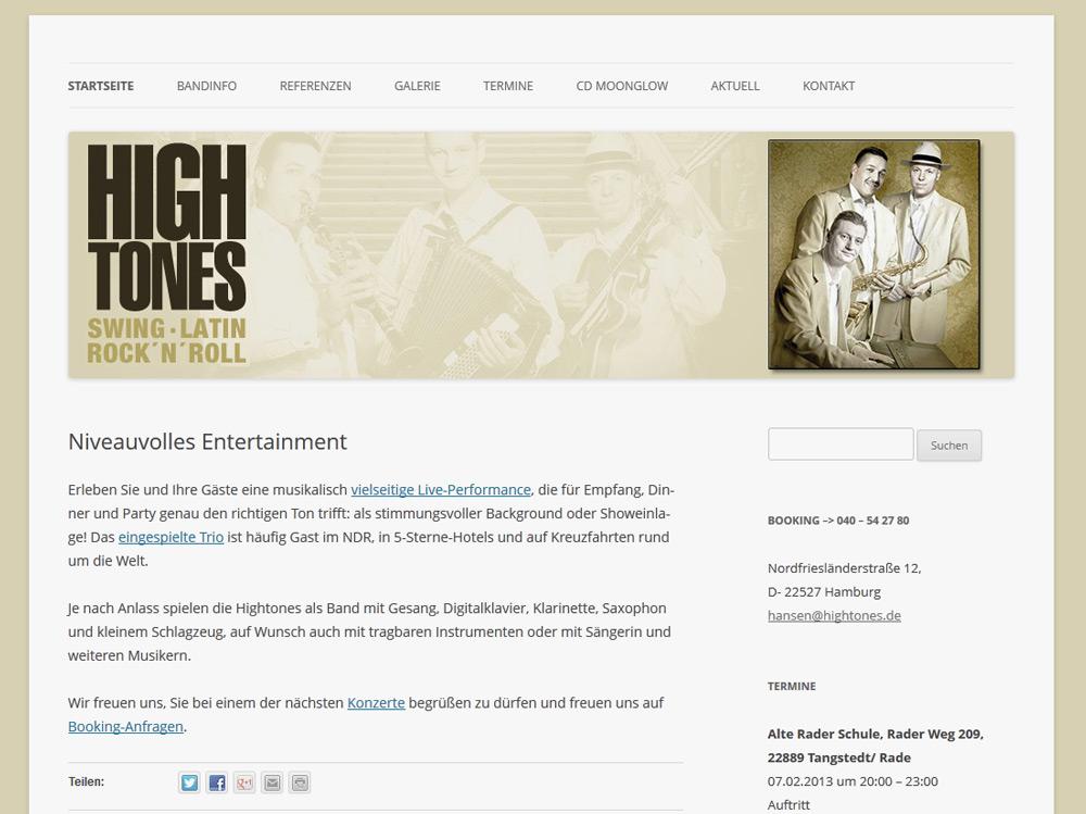 Hightones Hamburg Neue WordPress Seite