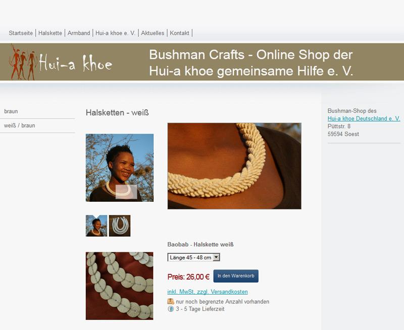 Internetseite bushman-crafts.de