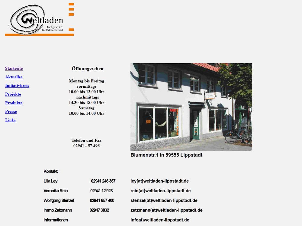 """""""alte"""" Internetseite Weltladen Lippstadt"""
