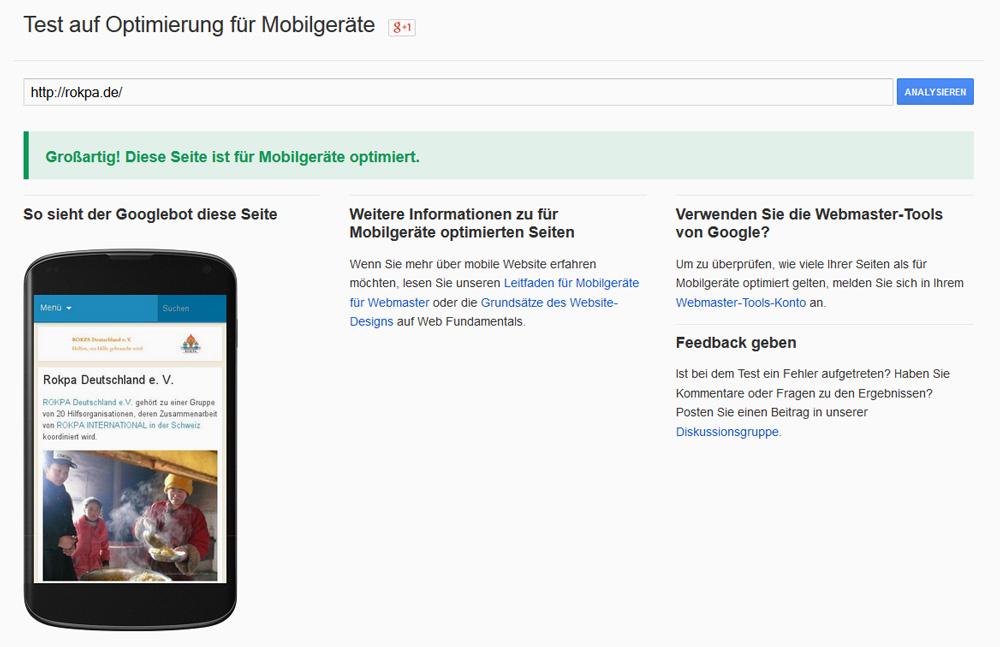 Rokpa Deutschland e. V. Mobiltest