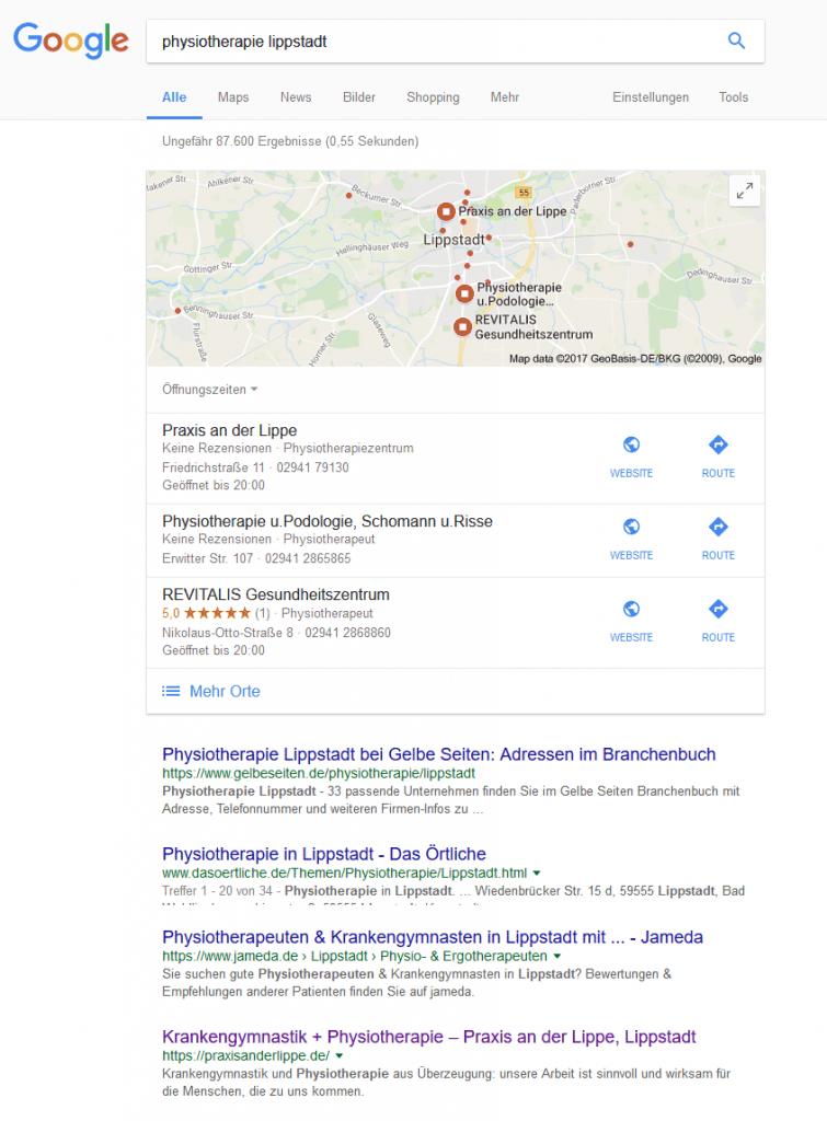 Praxis an der Lippe auf Google