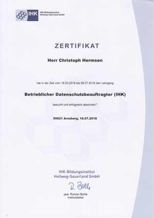 Betrieblicher Datenschutzbeauftragter, IHK-Zeugnis
